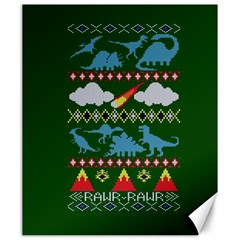 My Grandma Likes Dinosaurs Ugly Holiday Christmas Green Background Canvas 20  x 24