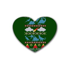 My Grandma Likes Dinosaurs Ugly Holiday Christmas Green Background Heart Coaster (4 pack)