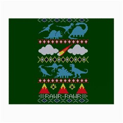 My Grandma Likes Dinosaurs Ugly Holiday Christmas Green Background Small Glasses Cloth (2-Side)