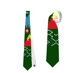 My Grandma Likes Dinosaurs Ugly Holiday Christmas Green Background Neckties (one Side)
