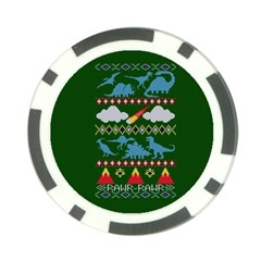 My Grandma Likes Dinosaurs Ugly Holiday Christmas Green Background Poker Chip Card Guards