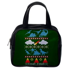 My Grandma Likes Dinosaurs Ugly Holiday Christmas Green Background Classic Handbags (One Side)
