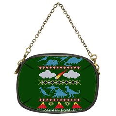 My Grandma Likes Dinosaurs Ugly Holiday Christmas Green Background Chain Purses (One Side)