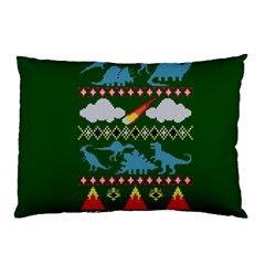 My Grandma Likes Dinosaurs Ugly Holiday Christmas Green Background Pillow Case
