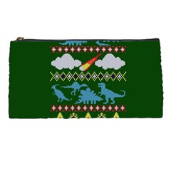 My Grandma Likes Dinosaurs Ugly Holiday Christmas Green Background Pencil Cases