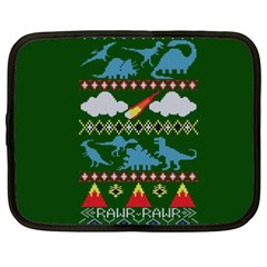 My Grandma Likes Dinosaurs Ugly Holiday Christmas Green Background Netbook Case (XXL)