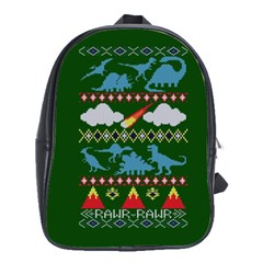 My Grandma Likes Dinosaurs Ugly Holiday Christmas Green Background School Bags(large)