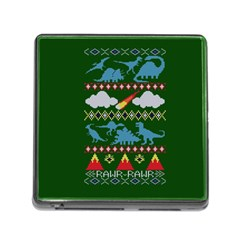 My Grandma Likes Dinosaurs Ugly Holiday Christmas Green Background Memory Card Reader (square)