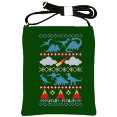 My Grandma Likes Dinosaurs Ugly Holiday Christmas Green Background Shoulder Sling Bags
