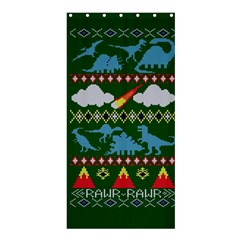 My Grandma Likes Dinosaurs Ugly Holiday Christmas Green Background Shower Curtain 36  X 72  (stall)