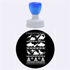 My Grandma Likes Dinosaurs Ugly Holiday Christmas Green Background Rubber Round Stamps (Large)