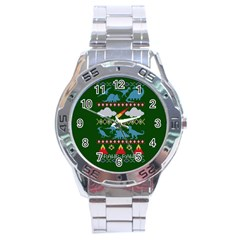 My Grandma Likes Dinosaurs Ugly Holiday Christmas Green Background Stainless Steel Analogue Watch