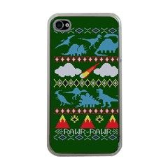 My Grandma Likes Dinosaurs Ugly Holiday Christmas Green Background Apple iPhone 4 Case (Clear)