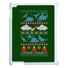 My Grandma Likes Dinosaurs Ugly Holiday Christmas Green Background Apple iPad 2 Case (White)