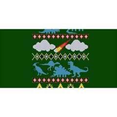 My Grandma Likes Dinosaurs Ugly Holiday Christmas Green Background You Are Invited 3d Greeting Card (8x4)