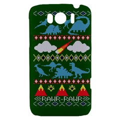 My Grandma Likes Dinosaurs Ugly Holiday Christmas Green Background HTC Sensation XL Hardshell Case