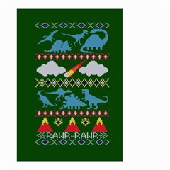 My Grandma Likes Dinosaurs Ugly Holiday Christmas Green Background Small Garden Flag (two Sides)