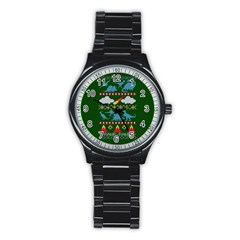 My Grandma Likes Dinosaurs Ugly Holiday Christmas Green Background Stainless Steel Round Watch