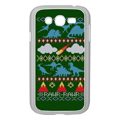 My Grandma Likes Dinosaurs Ugly Holiday Christmas Green Background Samsung Galaxy Grand DUOS I9082 Case (White)