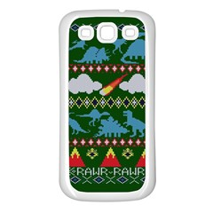 My Grandma Likes Dinosaurs Ugly Holiday Christmas Green Background Samsung Galaxy S3 Back Case (White)