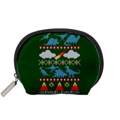 My Grandma Likes Dinosaurs Ugly Holiday Christmas Green Background Accessory Pouches (Small)