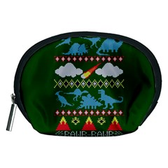 My Grandma Likes Dinosaurs Ugly Holiday Christmas Green Background Accessory Pouches (Medium)