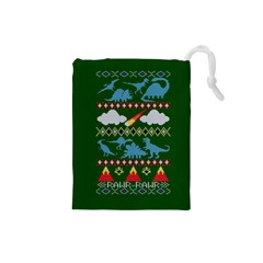 My Grandma Likes Dinosaurs Ugly Holiday Christmas Green Background Drawstring Pouches (small)