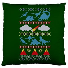 My Grandma Likes Dinosaurs Ugly Holiday Christmas Green Background Standard Flano Cushion Case (One Side)