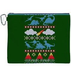 My Grandma Likes Dinosaurs Ugly Holiday Christmas Green Background Canvas Cosmetic Bag (XXXL)