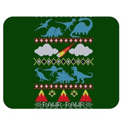 My Grandma Likes Dinosaurs Ugly Holiday Christmas Green Background Double Sided Flano Blanket (Medium)