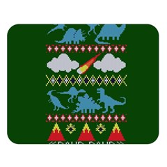 My Grandma Likes Dinosaurs Ugly Holiday Christmas Green Background Double Sided Flano Blanket (Large)