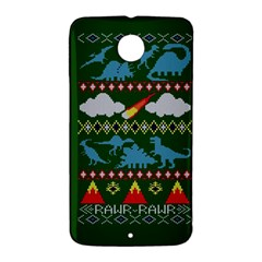 My Grandma Likes Dinosaurs Ugly Holiday Christmas Green Background Nexus 6 Case (White)
