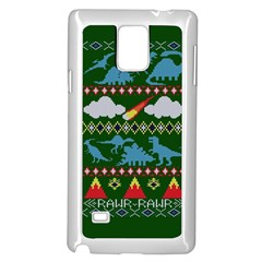 My Grandma Likes Dinosaurs Ugly Holiday Christmas Green Background Samsung Galaxy Note 4 Case (White)