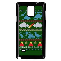 My Grandma Likes Dinosaurs Ugly Holiday Christmas Green Background Samsung Galaxy Note 4 Case (Black)