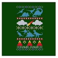 My Grandma Likes Dinosaurs Ugly Holiday Christmas Green Background Large Satin Scarf (Square)