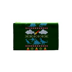 My Grandma Likes Dinosaurs Ugly Holiday Christmas Green Background Cosmetic Bag (XS)