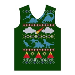 My Grandma Likes Dinosaurs Ugly Holiday Christmas Green Background Men s Basketball Tank Top