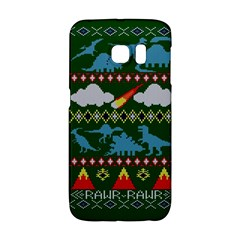 My Grandma Likes Dinosaurs Ugly Holiday Christmas Green Background Galaxy S6 Edge