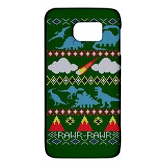 My Grandma Likes Dinosaurs Ugly Holiday Christmas Green Background Galaxy S6