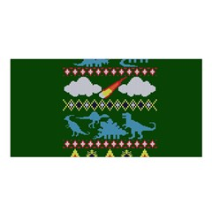 My Grandma Likes Dinosaurs Ugly Holiday Christmas Green Background Satin Shawl