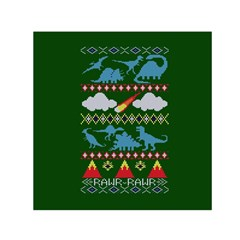 My Grandma Likes Dinosaurs Ugly Holiday Christmas Green Background Small Satin Scarf (Square)