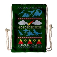 My Grandma Likes Dinosaurs Ugly Holiday Christmas Green Background Drawstring Bag (Large)