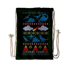 My Grandma Likes Dinosaurs Ugly Holiday Christmas Green Background Drawstring Bag (Small)