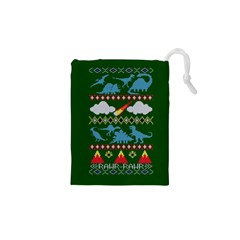 My Grandma Likes Dinosaurs Ugly Holiday Christmas Green Background Drawstring Pouches (XS)