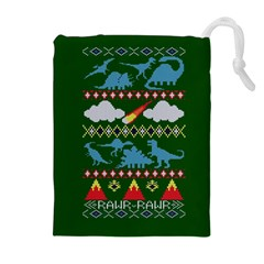 My Grandma Likes Dinosaurs Ugly Holiday Christmas Green Background Drawstring Pouches (Extra Large)