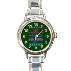 My Grandma Made This Ugly Holiday Green Background Round Italian Charm Watch