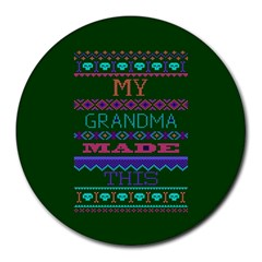 My Grandma Made This Ugly Holiday Green Background Round Mousepads