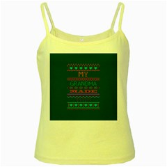 My Grandma Made This Ugly Holiday Green Background Yellow Spaghetti Tank