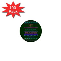 My Grandma Made This Ugly Holiday Green Background 1  Mini Buttons (100 pack)