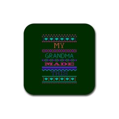 My Grandma Made This Ugly Holiday Green Background Rubber Square Coaster (4 pack)